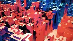 A câmera move-se através da cidade surreal abstrata Loopable ilustração stock