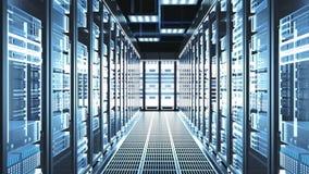 A câmera move-se com Data Center de trabalho grande com cremalheiras do servidor e teto de vidro ilustração do vetor