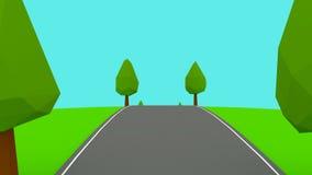 A câmera move-se nas árvores vazias de uma estrada lowpoly capazes de dar laços ilustração royalty free