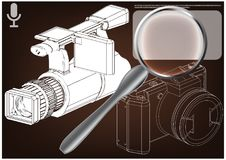 Câmera no marrom ilustração royalty free