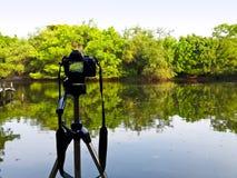 Câmera no tripé no lado do lago Foto de Stock