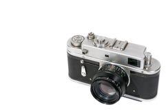 Câmera oxidada e empoeirada do vintage no branco fotografia de stock