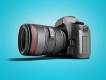 Câmera profissional com as inserções de couro pretas para a fotografia 3d do curso para render no fundo azul com sombra ilustração royalty free