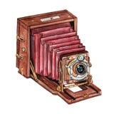 Câmera retro da aquarela do vintage Aperfeiçoe para o logotipo da fotografia Fotos de Stock Royalty Free