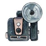 Câmera retro da aquarela do vintage Aperfeiçoe para o logotipo da fotografia Fotos de Stock