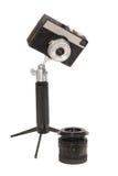 Câmera retro, lente e sustentação foto de stock
