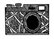 Câmera retro preto e branco da foto no estilo do zentangle Imagem de Stock Royalty Free