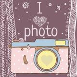 Câmera tirada mão da foto do vetor com texto Imagens de Stock