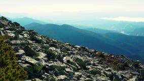 A câmera toma a vista panorâmica do pico da cordilheira Carpathian Uma ideia das inclinações florestados e dos penhascos das mont filme