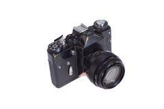 Câmera velha do preto 35mm SLR Imagens de Stock Royalty Free