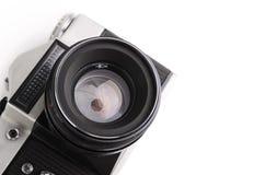Câmera velha isolada em um branco Fotos de Stock Royalty Free