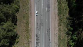 A câmera voa sobre a estrada nas madeiras, a câmera dispara para baixo Vista a?rea 4K video estoque