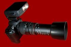 Câmera w/Paths vermelho do Telephoto Fotos de Stock