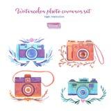 Câmeras da foto da aquarela ajustadas Imagens de Stock Royalty Free