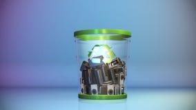 Câmeras que caem em um escaninho de lixo, alfa, metragem conservada em estoque ilustração stock