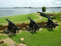 Cânones da guerra civil de McHenry do forte Imagem de Stock