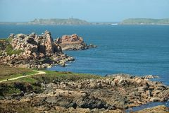 Pink Granite Coast near Perros Guirec in Brittany. Côte de Granit Rose is one of the most beautiful stretches of Brittany's coastline stock photos