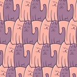 Cães abstratos dos gatos do teste padrão da repetição românticos Fotos de Stock