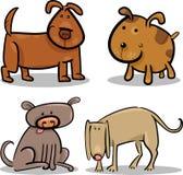 Cães bonitos ou filhotes de cachorro dos desenhos animados ajustados Imagens de Stock Royalty Free