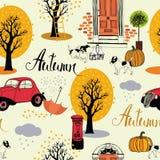Cães, carros do vintage, abóboras e árvores do outono. Backgrou sem emenda Fotografia de Stock