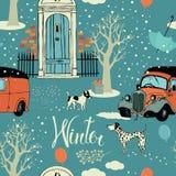 Cães, carros do vintage, neve e árvores do inverno. Seamles Foto de Stock