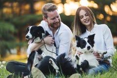 Cães de passeio dos pares bonitos e ligamento na natureza Imagens de Stock