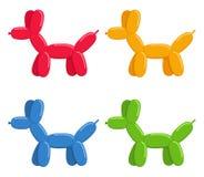 Cães do Ballon ajustados isolados no fundo branco Os animais bonitos da bolha perseguem brinquedos no estilo liso ilustração stock