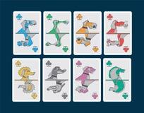Cães do whit dos cartões de jogo Imagens de Stock