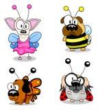 Cães dos desenhos animados nos trajes Foto de Stock Royalty Free