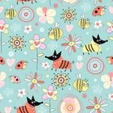Cães e abelhas da textura nas flores Imagens de Stock
