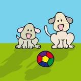 Cães e esfera Fotografia de Stock Royalty Free
