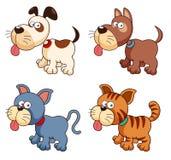 Cães e gatos dos desenhos animados Imagens de Stock