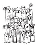 Cães engraçados tirados mão da garatuja ajustados Imagem de Stock Royalty Free