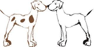 Cães felizes dos desenhos animados ilustração stock