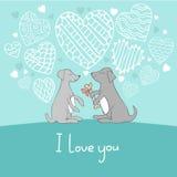 Cães na ilustração bonito do vetor da garatuja do amor Fotos de Stock Royalty Free