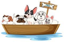Cães no barco ilustração stock
