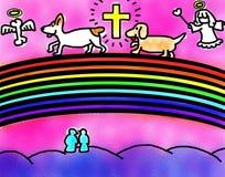 Cães que cruzam a ponte do arco-íris com Angel Guiding ilustração royalty free