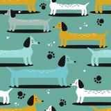 Cães, teste padrão sem emenda ilustração stock