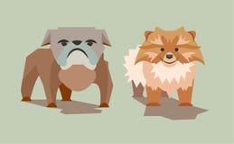 Cães tristes e sorrindo Fotografia de Stock