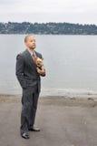 Cão étnico do homem de negócio e do terrier de Yorkshire Foto de Stock Royalty Free