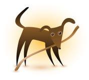 Cão & vara Imagem de Stock