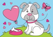 Cão bonito com balão do coração ilustração do vetor