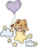 Cão bonito com o balão em estrelas e em nuvens ilustração do vetor