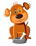 Cão bonito com um osso ilustração stock