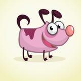Cão bonito do rosa dos desenhos animados Ilustração do vetor no fundo branco Fotografia de Stock
