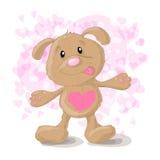 Cão bonito dos desenhos animados com corações Fotos de Stock Royalty Free