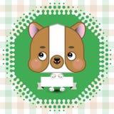 Cão bonito dos desenhos animados que guarda uma bandeira com espaço da cópia Fotos de Stock