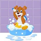 Cão bonito dos desenhos animados que tem o banho ilustração do vetor