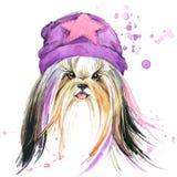 Cão bonito Gráficos do t-shirt do cão fundo da ilustração do cão da aquarela ilustração royalty free