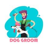 Cão bonito no salão de beleza do groomer Foto de Stock